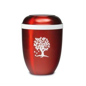 rode urn met levensboom