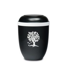 zwarte urn met levensboom